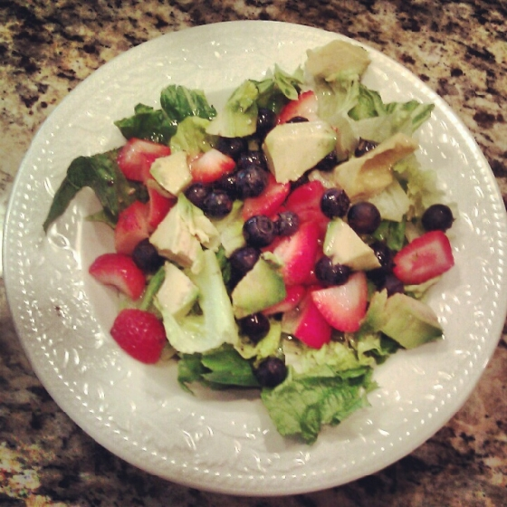 Avocado and Fruit Salad with Homemade Basil Vinaigrette